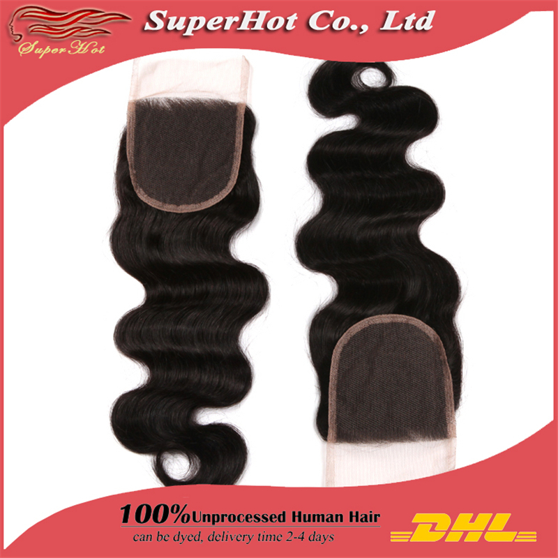 """5A Brazilian Natural Hair DHL Free Lace Top Closure Swiss Lace 3.5""""x4"""" Body Wave Hand Tied Free Part Shedding & Tangle Free(China (Mainland))"""
