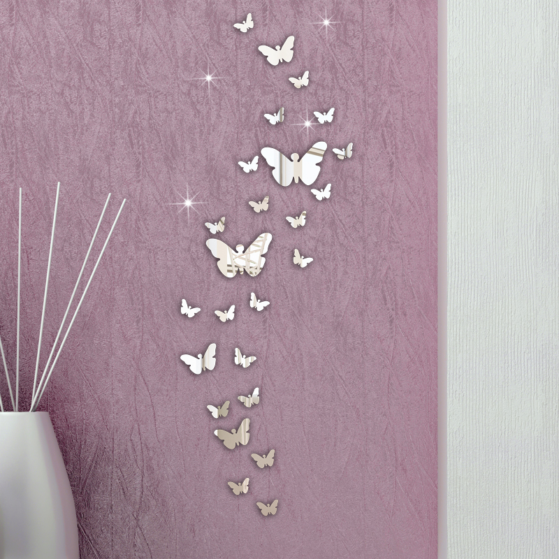 Home Decoration 30PC Butterfly Combination 3D Mirror Wall Stickers Wholesales 5% OFF(China (Mainland))