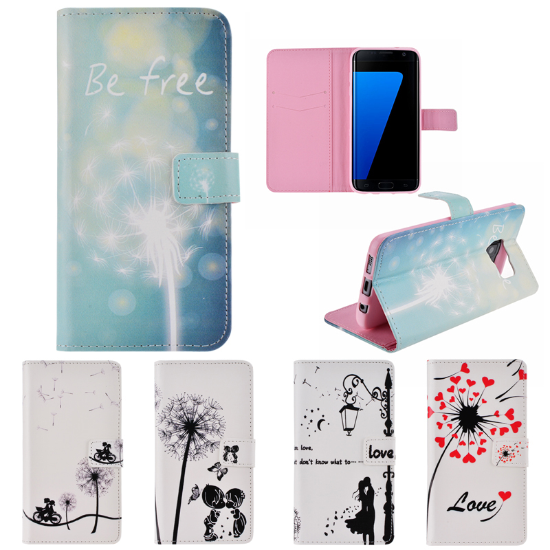 Leather Flip Cover for Samsung S3 S4 S7 Edge Wallet Case Book Style Cell Phone Cover Soft TPU Case Inside White Pink Blue Rose(China (Mainland))
