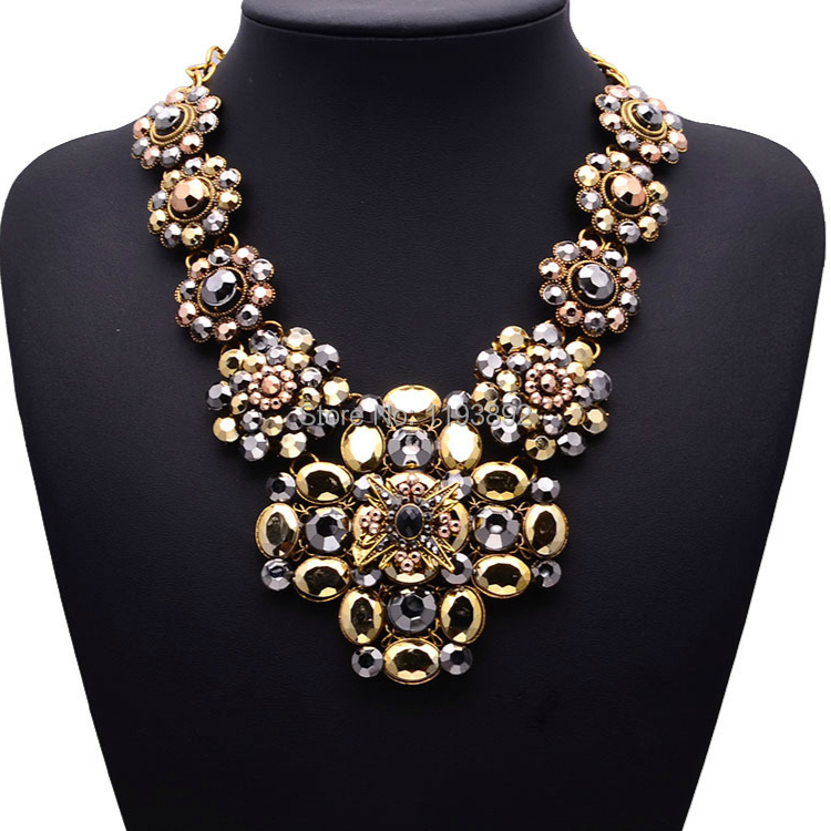 2015 top brand design women choker necklace high quality jewelry acrylic statement chokers brown pendant necklaces jewelry women(China (Mainland))