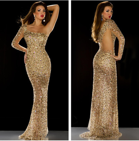 Awesome Gold Color Dress Clearanceprom Dresses Wynk011