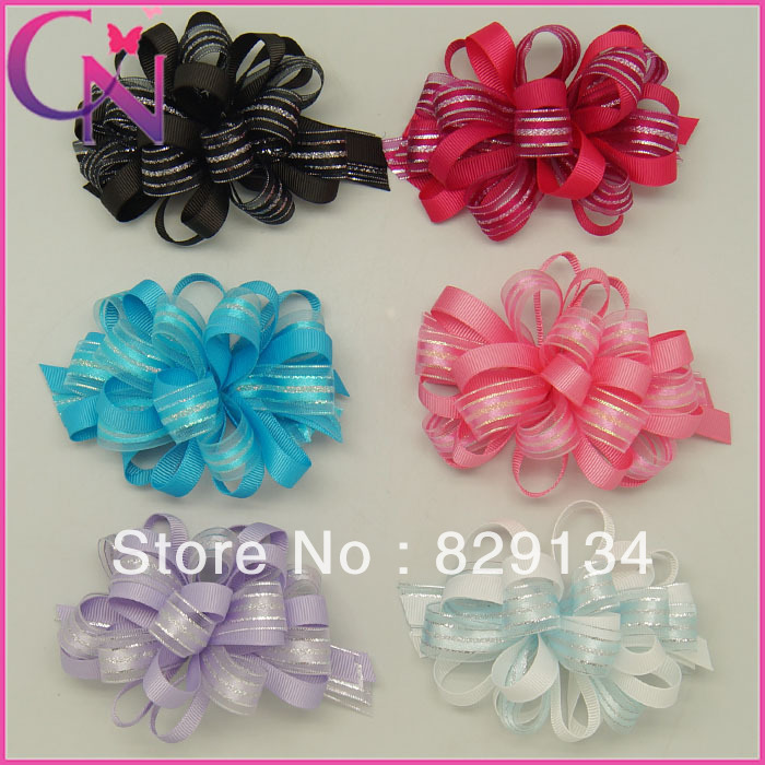 12 pieces/lot 4.5 inch striped woven organza with solid grosgrain ribbon korker hair bow CNHB-1308204()