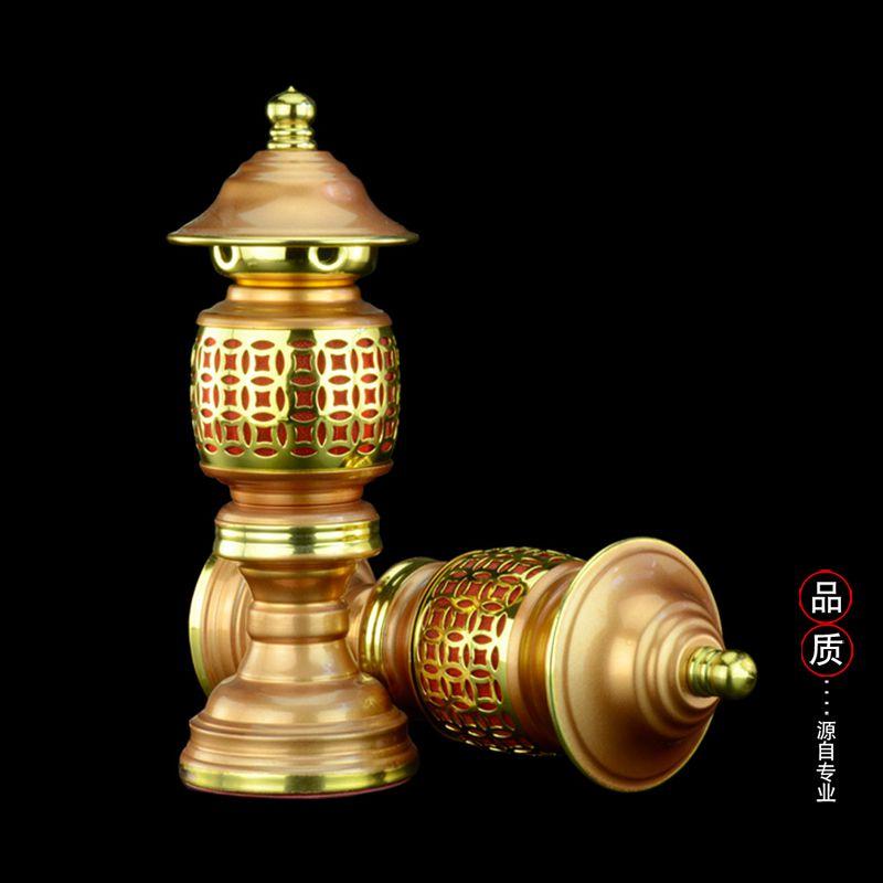 """13"""" Pairs Chinese Vintage Lantern Tibetan Zen Altar Buddha Table Lamp LED Light Zinc Alloy led christmas decoration(China (Mainland))"""