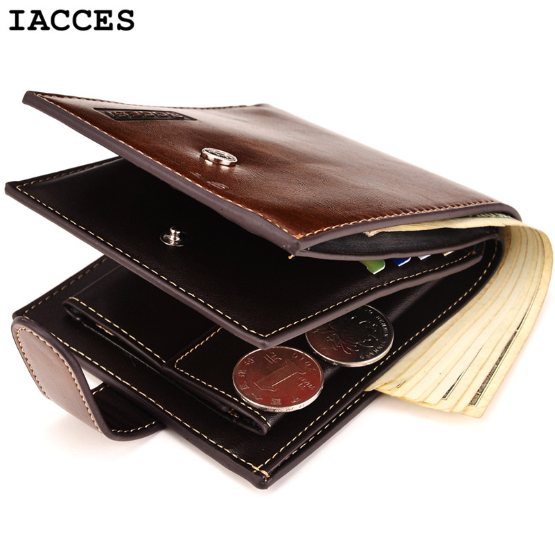 Brand Men Short Wallets Balck Coffee Bifold Wallet Mens Genuine PU Leather Card holder Coins With Zipper Wallet Purses Pockets(China (Mainland))