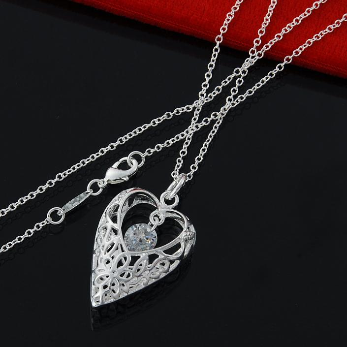 Charming yourself Women's Gloss 925 Sterling silver fine round chain necklace with delecate CZ Gemstone heart pendant(China (Mainland))