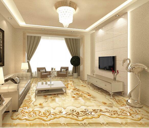 pvc plancher personnalisé 3d salle de bain de style européen ...