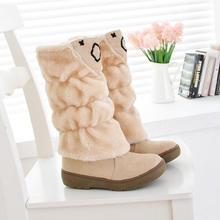 Zapatos ENMAYER 2014 bola de lana botas de nieve de alta de la pierna talón plano botas de nieve botas de invierno cálido envío gratis dropshippng(China (Mainland))