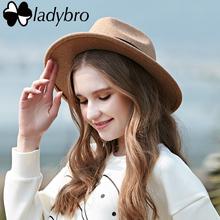 Ladybro 2016 Autumn Winter Sun Hat Women Men Fedora Hat Classical Wide Brim Felt Floppy Cloche Cap Chapeau Imitation Wool Cap(China (Mainland))