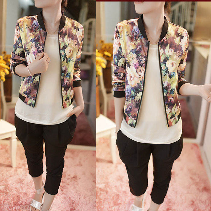 2015 New Excellent Style Women Stand Floral Printed Collar Casual Jacket Womens Coats Long Sleeve Zipper Bomber - Sunny Trading Co,Ltd store