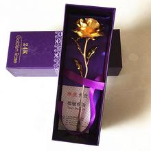 24K Gold Plated Long Stem Rose Flower for Valentine / Mothers Day / Wedding Favor with Small Bear Gift (Purple Rose)(China (Mainland))