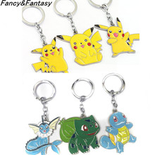 Fancy&Fantasy Pokemon figures Zinc Alloy keychains anime Pikachu Bulbasaur Gastly Chansey Squirtle cute pendants Toy Key Ring - Jewelry store