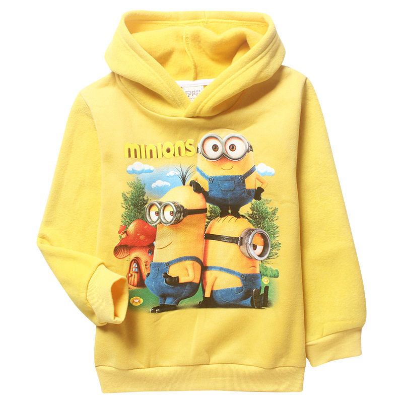 2015 New Despicable Me Minion Sweater with Warm Winter Thickened Child Jacket Baby Boy Clothes Sweatshirt