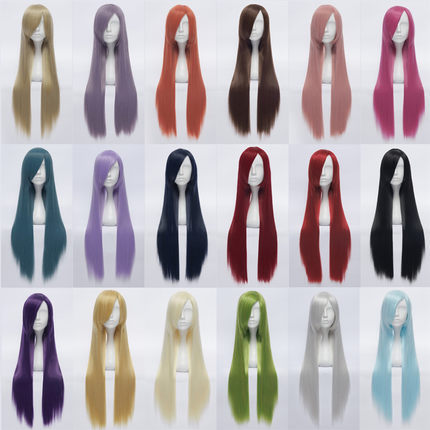 32''/80cm Harajuku Anime Cosplay Wigs  Long Straight Synthetic Hair Wig Bangs Costume Party Cosplay Wigs For Women 18 Colors