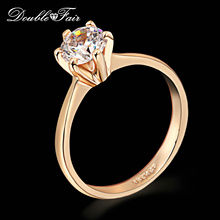 Six Claw 1 Carat Cubic Zirconia Wedding/Engagement rings Wholesale Silver/Rose Gold Plated CZ Stone Jewelry For Women DFR014(China (Mainland))