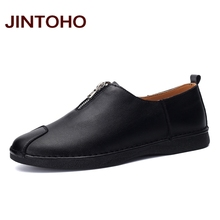 JINTOHO slip on loafers high quality zip hand-made men leather shoes spring and autumn men's leather moccasin shoes online shop(China (Mainland))