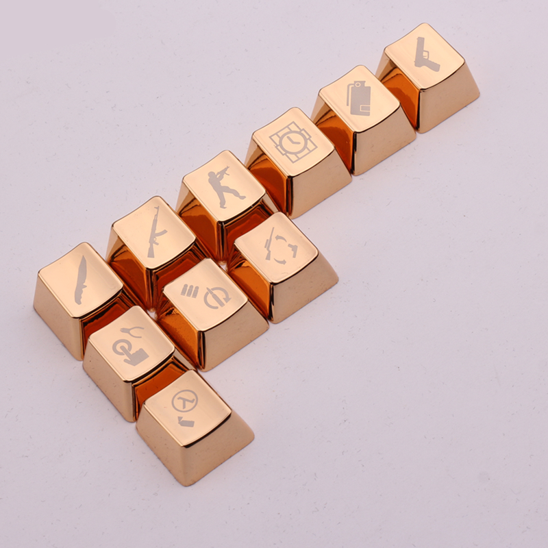 Wholesale Metal Keycaps Golden CS 10 Keyset Mechanical Keyboard Key Caps For Cherry MX Switches And Kailh Switches Metal Keycaps(China (Mainland))