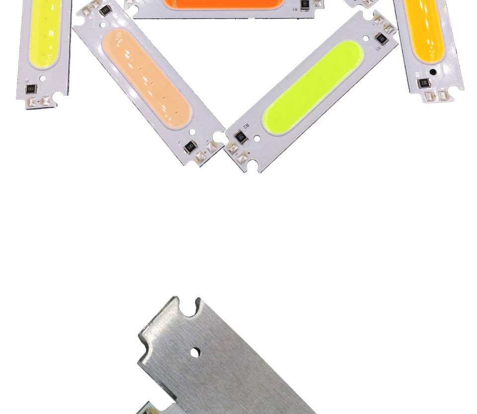 COB LED Module White Yellow Orange Green Blue Red Purple 60x15mm 2W DC 12V DIY LED Chip Matrix Lamp Bulb 60MM Lights (6)