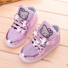 2016 Children shoes Girls Sneakers kids KT Boys mesh sports flashing lights LED baby Shine 21-30 - Sun Bird Kids Shoes store