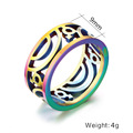 Colorful hollow ring exquisite stainless steel jewelry pvd rainbow male female symbol Rings