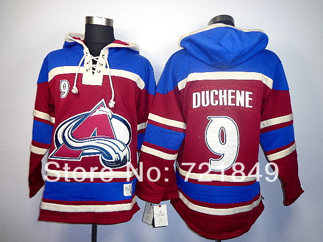 2014 Style! Cheap Colorado Avalanche 9 Matt Duchene Fleece Hooded Mens Jersey Old Time Hockey Hoodies Sweatshirts