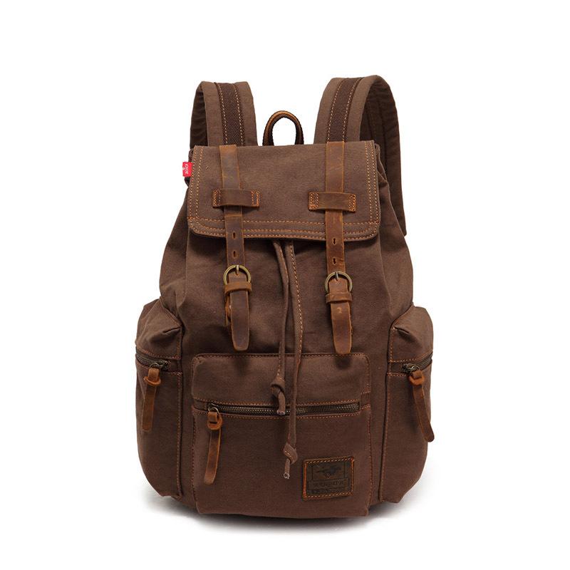 Men Vintage Satchel Canvas Leather Backpack Rucksack bags travel military school Bag men sports outdoor hiking