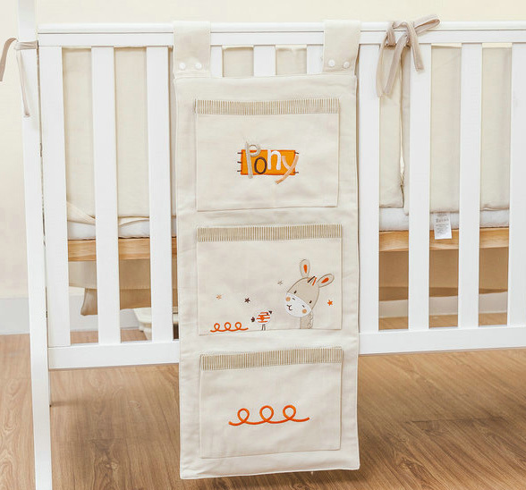 Brand Baby Cot Bed Hanging Storage Bag Newborn Crib Organizer Cotton Toy Diaper Pocket for Crib Bedding Set Accessories in Stock(China (Mainland))