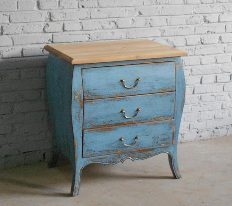 Special Spot Export Of Solid Wood Furniture Blue Distressed Pine Bedside Cabinet Bed Side