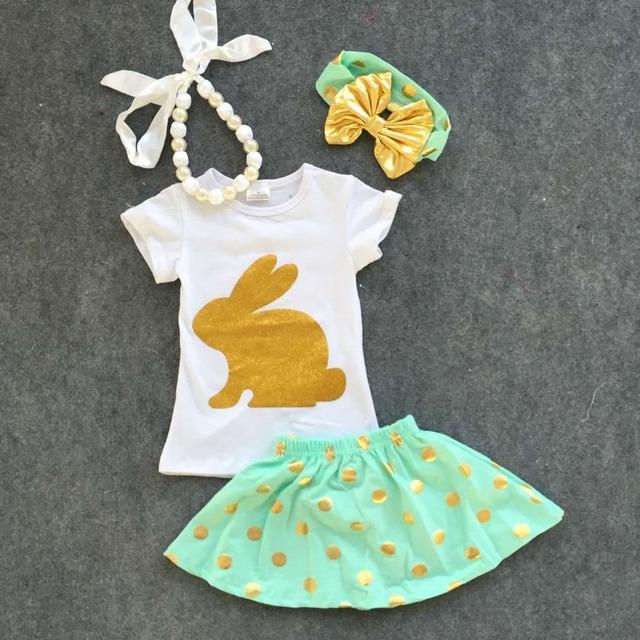 2016 новый ребенок эстер день золотой кролик короткие рукава комплект девушки пасха ...
