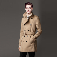 Free Shipping New 2016 Men's Dream Trench Coat URSMART Brand Medium-Long Turn-Down Collar Double Breasted trench Coat/S-XXXL(China (Mainland))