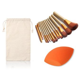 Free Shipping 12Pcs Pro Makeup Set Powder Foundation Cosmetic Brushes Sponge Puff Eyeshadow Lip Brush
