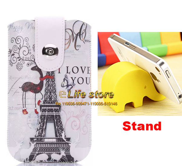 Artificial Leather Case Strap Phone Case UK USA Flag Cover + 2 Elephant Stand For Huawei Ascend Y550 Y520 G535(China (Mainland))