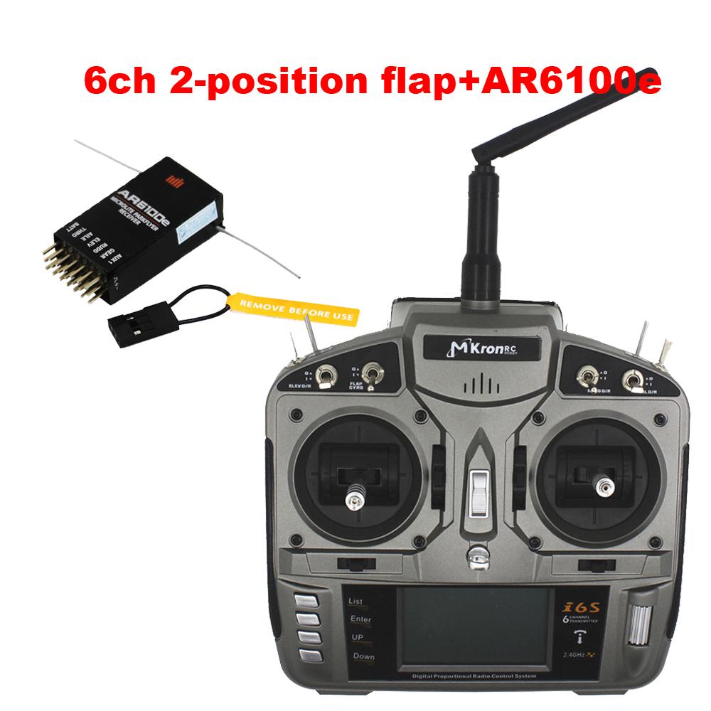 2.4G 6CH RC i6s Radio receiver Transmitter gray plastic 3 postion flap + AR6100E DSM2 receiver RADIO CONTROL better than Futaba