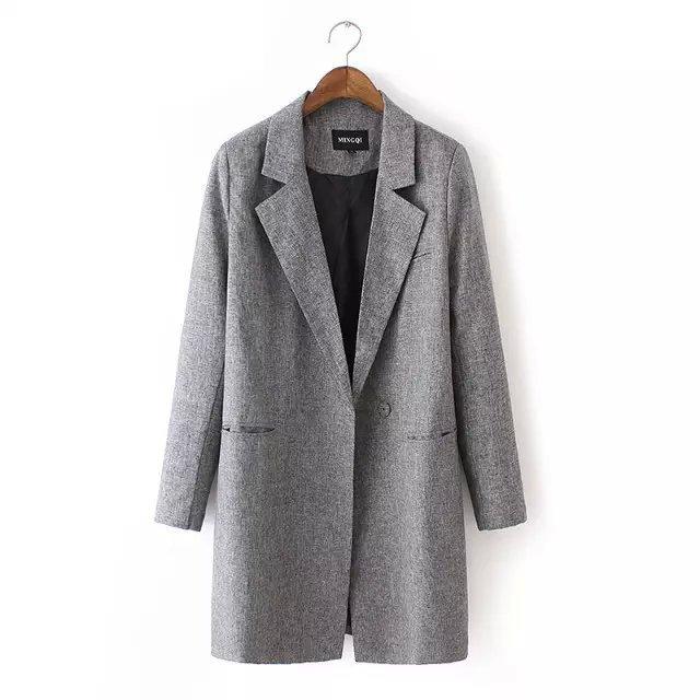 autumn winter fashion long slim lapel long-sleeved solid gray color womne suit coat za/6 - LITTLE DREAM SHOP store