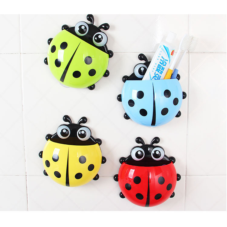 1PC Lovely Ladybug Sucker Toothbrushes Holder Toothbrush Wall Suction Hooks Toothbrush Rack Bathroom Sets Tooth Brush Container(China (Mainland))