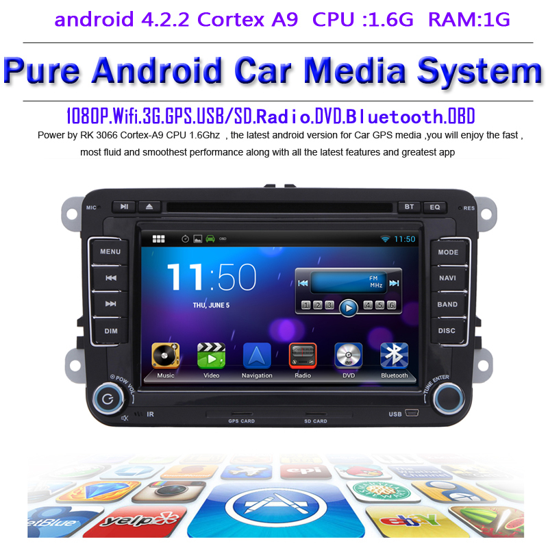 Pure android 4.2.2 Car DVD GPS VW Golf 6 Polo Passat Jetta Tiguan Touran EOS Sharan Capacitive screen Radio Recorder - Quick Krist's store