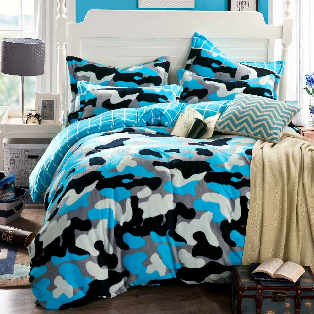 Camouflage duvet cover blue bed sheets funda nordica for Housse duvet