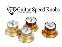 4PCS(2 Volume & 2 Tone)/set Speed Knobs Control Buttons Replacement Guitar Parts Golden Brown & Silver afinador guitarra(China (Mainland))