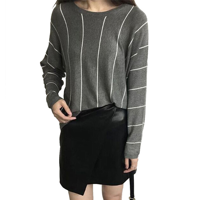 Женщины плюс размер серый Винтаж свободные полосатый свитер с длинным рукавом теплый ...