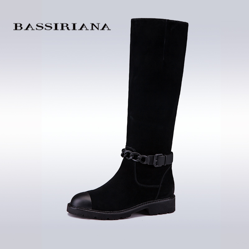 BASSIRIANA 2017 New Women Genuine Leather High Boots Fashion ladies Thick heels Boots Sexy Woman Womens Black Boots(China (Mainland))