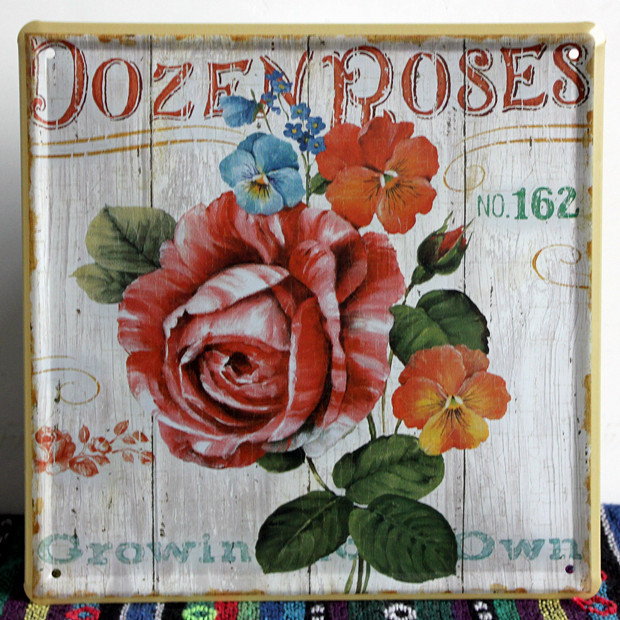Rose flower Restaurant Metal painting Retro plates Vintage wall art decor Bar house cafe poster 20*20 CM free shipping YT-01439(China (Mainland))