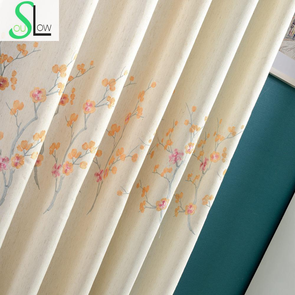 Orange curtains living room - Plum Flower Coffee Purple Orange Floral Embroidered Exquisite White Curtains Cortinas For Living Room Bedroom Curtain