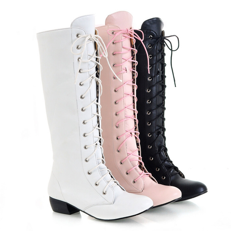 White Lace Thigh High Boots Women Winter Knee Black Pink Warm Pointed Toe Leather Work Long Large Size - ZHI XIN Shoe Store store