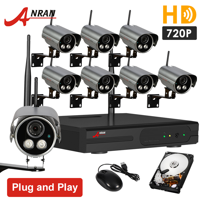HD 720P 8CH Wireless NVR CCTV Security Camera System Outdoor Infrared Night Vision WIFI Surveillance Kit 2TB HDD(China (Mainland))