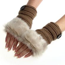 Amaizng Fashion Winter Knitted Faux Fur Fingerless Gloves Women Wrist Soft Warm Mitten Free Shipping(China (Mainland))