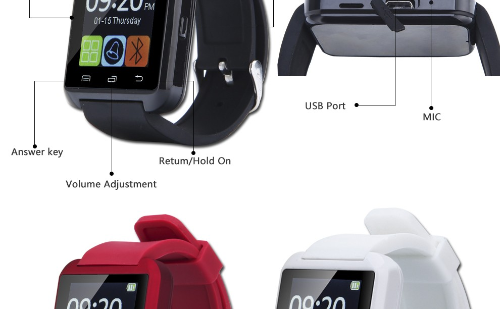 100% Original Bluetooth Smart Watch U8 Smartwatch U Watch For iOS iPhone Samsung Sony Huawei Android Phones Good as GT08 DZ09