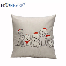 Red Nose Dog Linen Cotton Cushion Covers