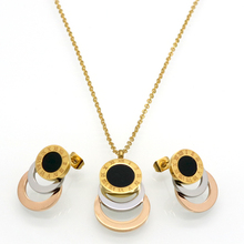 Consist 3 Colour Gold/Silver/Rose Gold Stainless Steel Jewelry Stes Brand Women Earrings & Necklace Jewelry Set For Female(China (Mainland))