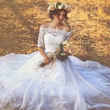 Romantic White Ball Gown Wedding Dresses 2015 Fall Appliques Lace Half Sleeve Bridal Gowns Off Shoulder Vestido de Novia H-064(China (Mainland))