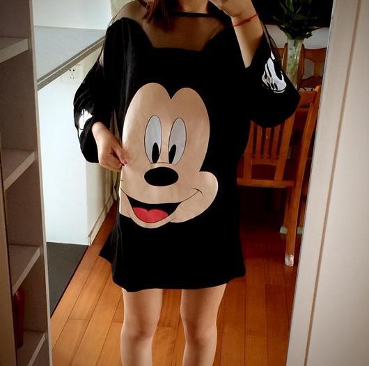 2015 plus size Women Summer Style Cute Cartoon Mickey T Shirt Women's Emoji Patchwork Mesh T-Shirt Clothes O Neck Shirts Mujer(China (Mainland))