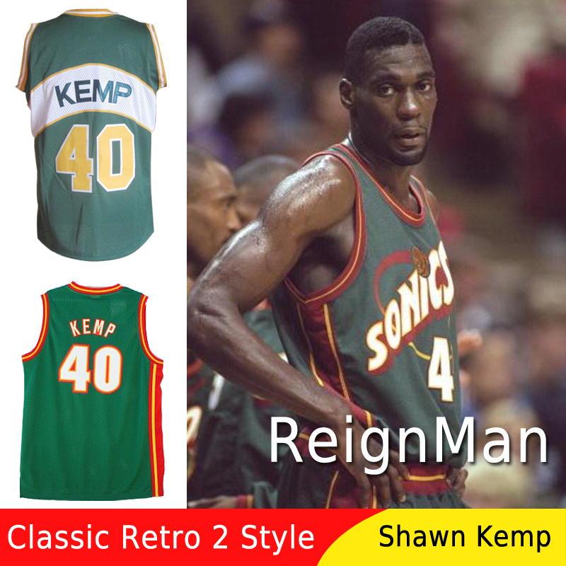 product Free Shipping Seattle Sonics 40 Shawn Kemp Basketball Jersey Stitched Throwback Sports Jerseys Retro Camisetas Shirt